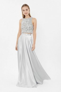 Coast Satin Maxi Skirt Grey Silver
