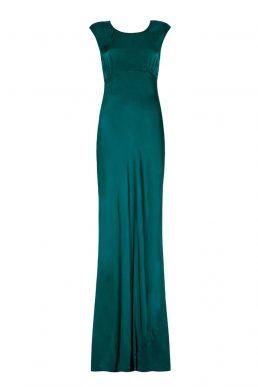 Ghost Salma Satin Cowl Back Maxi Dress Emerald Green