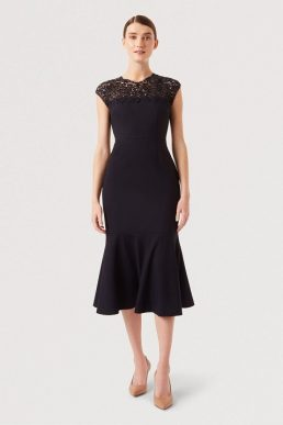 Hobbs Cecilia Lace Shift Peplum Dress Navy Blue