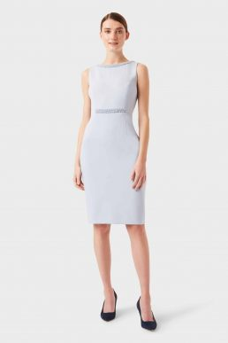 Hobbs Gill Shift Embellished Dress Pale Blue