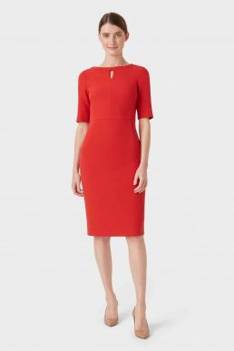 Hobbs Maura Sleeve Shift Dress Red