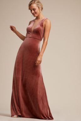 Jenny Yoo Logan Plunging Illusion V Neck Velvet Bridesmaid Gown Dress English Rose