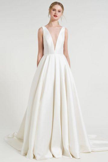 Jenny Yoo Spencer V Neck a Line Taffeta Gown Wedding Dress Dark Ivory