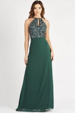 Lace & Beads Basia Green Maxi Sequin Bridesmaid Dress