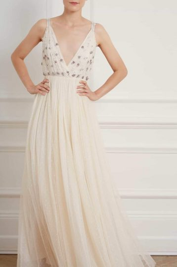 Needle & Thread Neve Embelished Bodice Maxi Dress Ivory