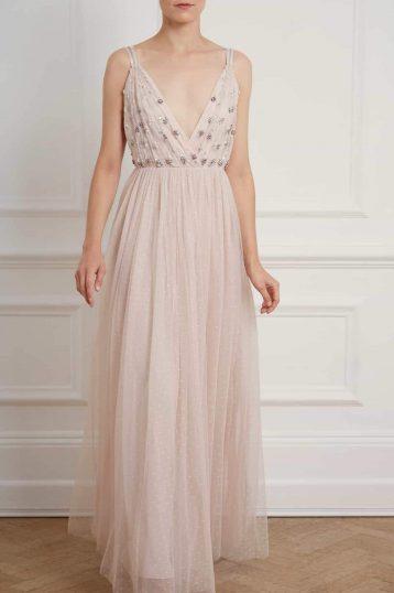 Needle & Thread Neve Embelished Bodice Maxi Dress Pale Pink Blush
