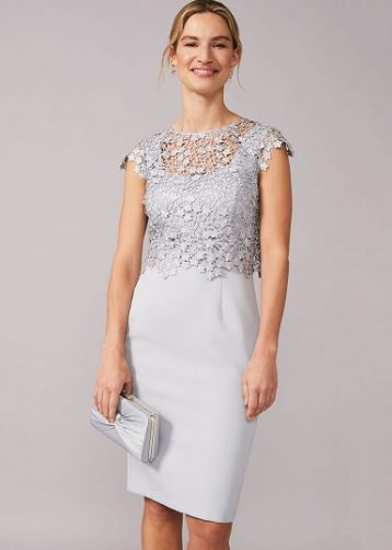Phase Eight Mariposa Double Layered Dress Mineral Pale Blue