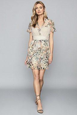 Reiss Sadie Floral Printed Mini Dress Neutral Cream Grey