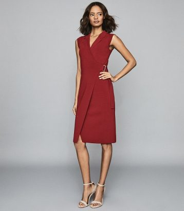 Reiss Gabrielle Knitted Wrap Front Bodycon Dress Berry Red Pink