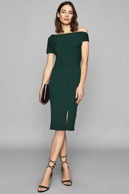 Reiss Lavinia Knitted Bodycon Shift Dress Dark Green