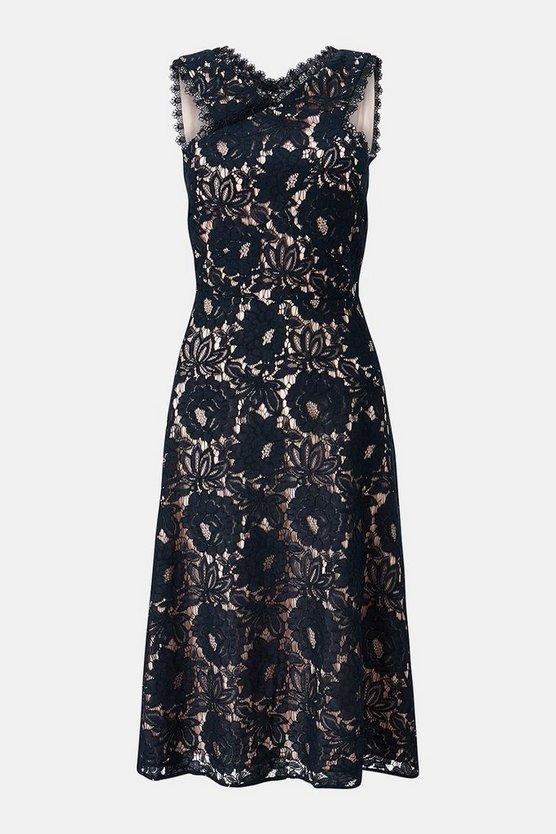 Lace Racer Neck Dress