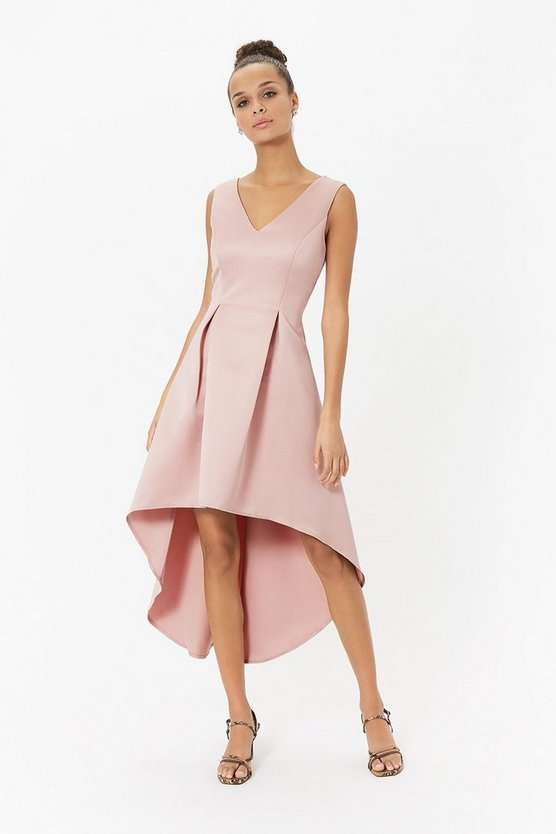 Satin V Neck Dip Hem Dress