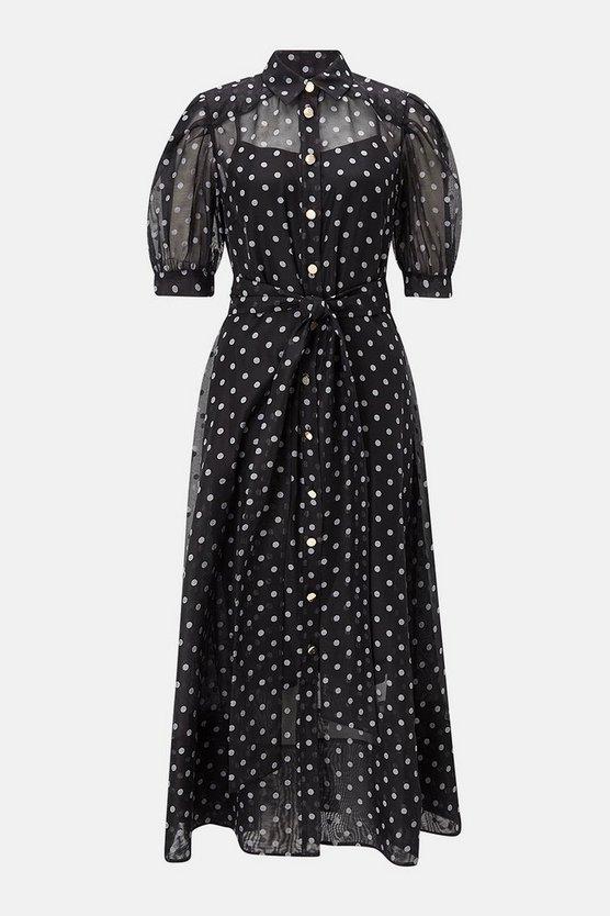Spot Organza Puff Sleeve Dress