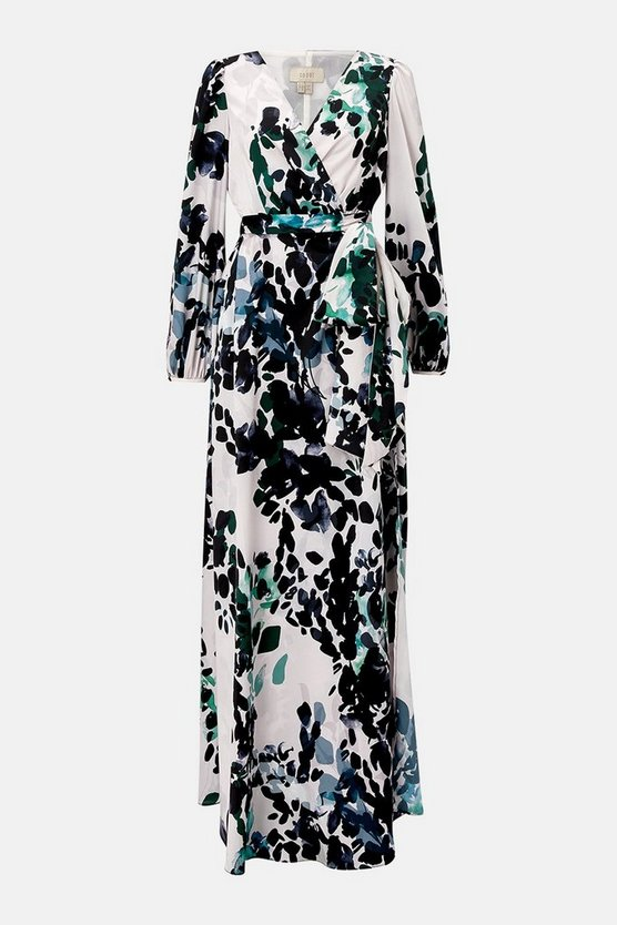 Animal Print Wrap Maxi Dress