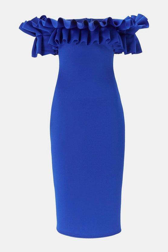 Scuba Ruffle Bardot Dress