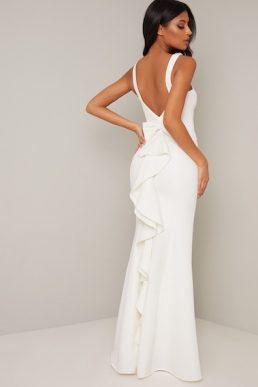 Chi Chi Bridal Evie Embellished Bow Back Dress White