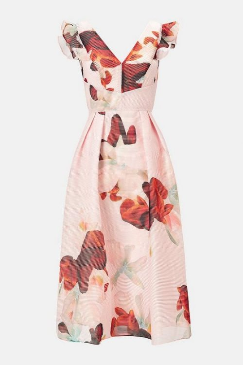 burnout floral frill dress