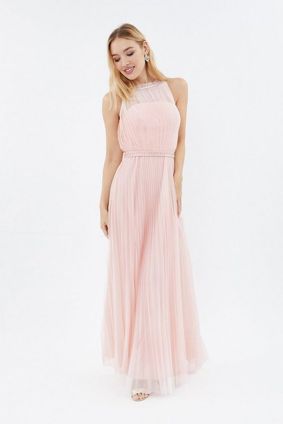 Coast Mesh Pleat Maxi Bridesmaid Dress Blush Pale Pink