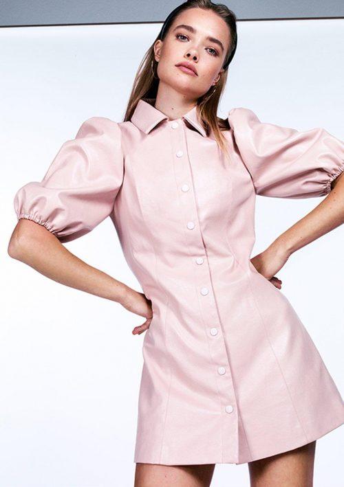 Pu Puff Sleeve Dress