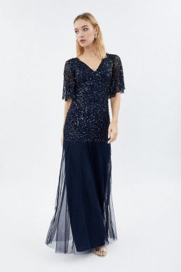 Coast Sequin Angel Sleeve Sequin Maxi Dress Navy Blue