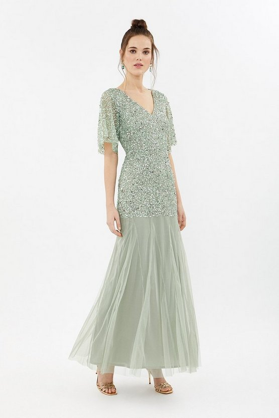 Coast Sequin Angel Sleeve Sequin Maxi Dress Sage Green