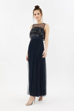 Coast Sequin Tulle Frill Bodice Maxi Dress Navy