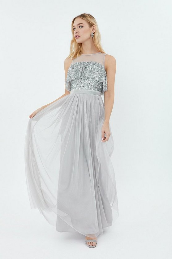 Coast Sequin Tulle Frill Bodice Maxi Dress Silver