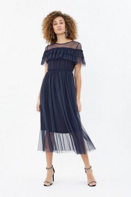 Coast Tulle Frill Midi Dress Navy Blue