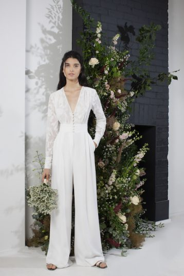 French Connection Annalise Satin Belted Bridal Jumpsuit Summer White