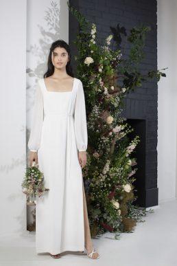 french connection aadina crepe column wedding sleeve dress ivory
