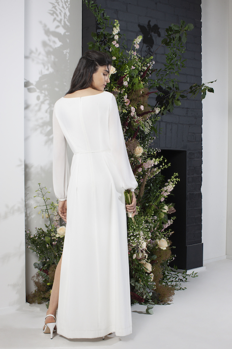 aadina crepe column wedding sleeve dress ivory