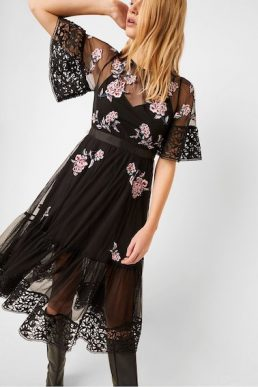 French Connection Ambre Embroidered Floral Sleeve Dress Black Pink