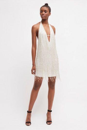 French Connection Celosia Shine Sequin Mini Shift Dress White