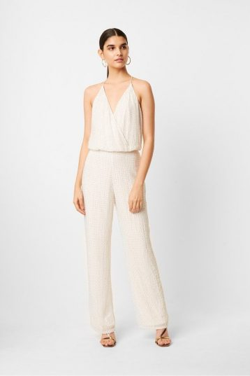 French Connection Clara Embellished Strappy Jumpsuit, White