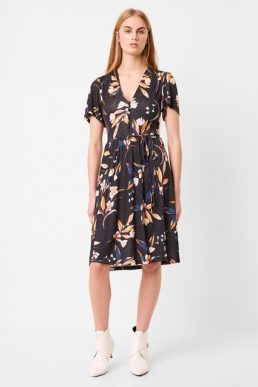 French Connection Elvia Floral Print Meadow Belted Dress Black Multi