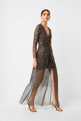 French Connection Emille Sequin Plunge Neck Dress Pewter