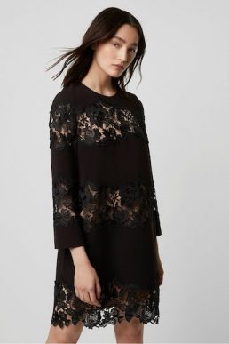 French Connection Fenya Lace Mix Shift Dress Black