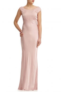 Ghost Salma Satin Cowl Back Maxi Dress Boudoir Pink