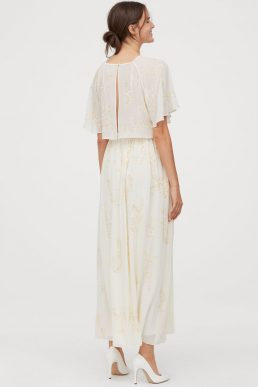 H&M Sequin-embroidered angel sleeve long maxi dress Cream