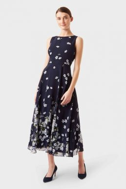 Hobbs Carly Floral Print Dress Navy Ivory