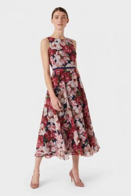 Hobbs Carly Floral Print Dress Peony Pink Multi