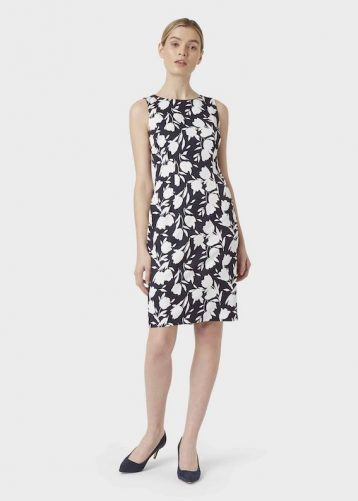 Hobbs Moira Floral Print Shift Dress Midnight Navy White