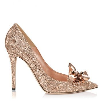 Jimmy Choo ARI Crystal Covered Pointy Toe Pumps, Gold