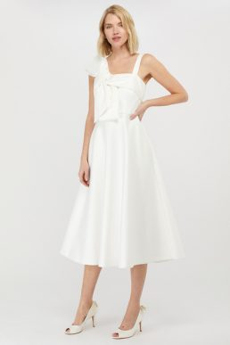 Monsoon Carrie Bridal Satin Bow Midi Dress Ivory