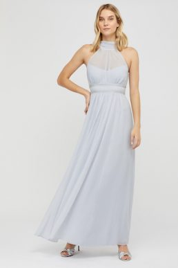 Monsoon Marion Halter Embellished Maxi Bridesmaid Dress Light Blue