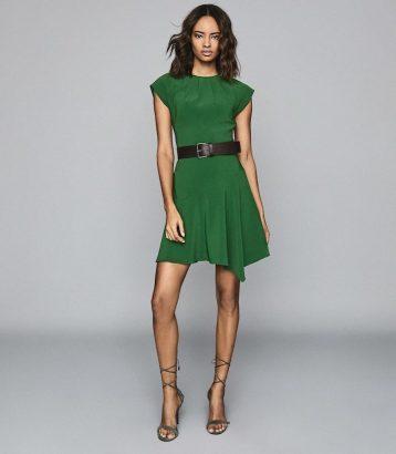 Reiss Belle Capped Sleeve Dress Green