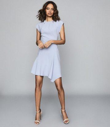 Reiss Belle Capped Sleeve Dress Pale Blue
