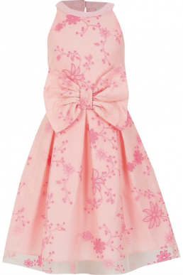 River Island Girls pink embroidered bow prom dress