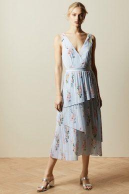Ted Baker ARLISSA Sleeveless Woodland wrap dress Light Blue Multi