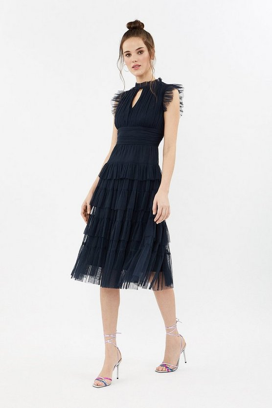 tulle tiered frill sleeve dress